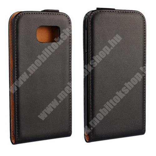 SLIM FLIP tok - lefelé nyíló, rejtett mágneses záródás - FEKETE - SAMSUNG SM-G920 Galaxy S6