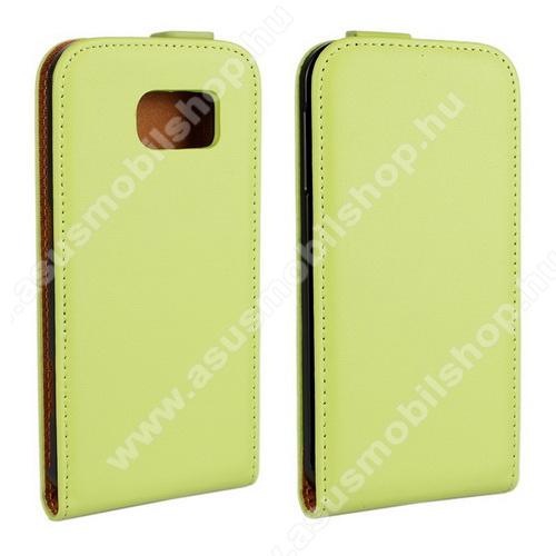 SLIM FLIP tok - lefelé nyíló, rejtett mágneses záródás - ZÖLD - SAMSUNG SM-G920 Galaxy S6