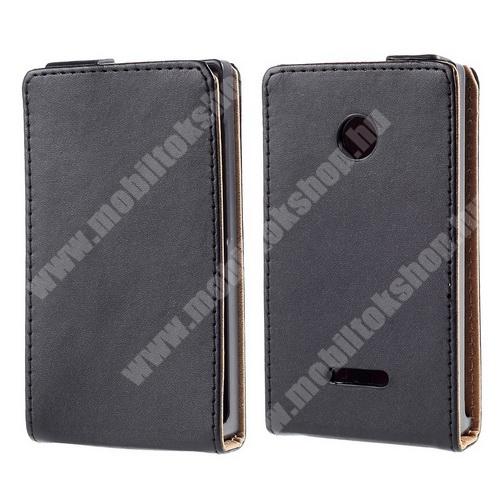 SLIM FLIP tok - lefelé nyíló, rejtett mágneses záródás - FEKETE - MICROSOFT Lumia 435 / Lumia 435 Dual SIM
