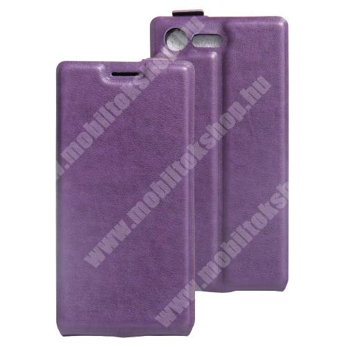 SLIM FLIP tok - LILA - lefelé nyíló, rejtett mágneses záródás, szilikon belső, bankkártya tartó, előlapi hangszóró nyílás - Sony Xperia X Compact (F5321)