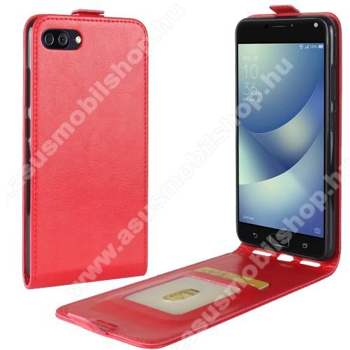 SLIM FLIP tok - PIROS - lefelé nyíló, rejtett mágneses záródás, bankkártya tartó zseb, szilikon belső, előlapi hangszóró kivágás - ASUS Zenfone 4 Max (ZC554KL) / ASUS Zenfone 4 Max Plus (ZC554KL) / ASUS Zenfone 4 Max Pro (ZC554KL)