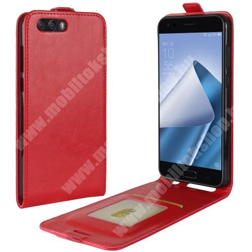 SLIM FLIP tok - PIROS - lefelé nyíló, rejtett mágneses záródás, bankkártya tartó zseb, szilikon belső, előlapi hangszóró kivágás - ASUS Zenfone 4 (ZE554KL)
