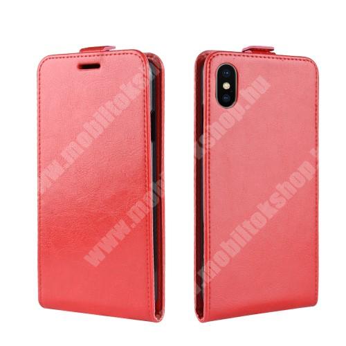 SLIM FLIP tok - PIROS - lefelé nyíló, rejtett mágneses záródás, szilikon belső, bankkártya tartó, előlapi hangszóró nyílás - APPLE iPhone Xr