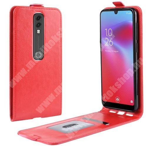 SLIM FLIP tok - PIROS - lefelé nyíló, rejtett mágneses záródás, szilikon belső, bankkártya tartó, előlapi hangszóró nyílás - Vodafone Smart V10