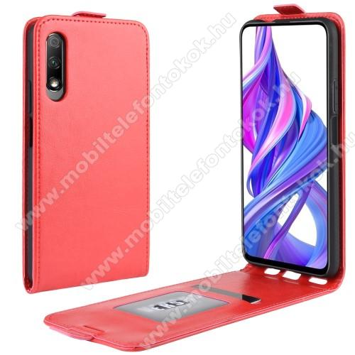 SLIM FLIP tok - PIROS - lefelé nyíló, rejtett mágneses záródás, szilikon belső, bankkártya tartó, előlapi hangszóró nyílás - HUAWEI P smart Pro (2019) / HUAWEI Y9s / Honor 9X (For China market) / Honor 9X Pro (For China)