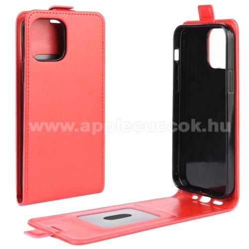 SLIM FLIP tok - PIROS - lefelé nyíló, rejtett mágneses záródás, szilikon belső, bankkártya tartó, előlapi hangszóró nyílás - APPLE iPhone 12