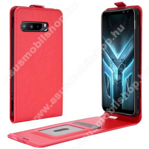 SLIM FLIP tok - PIROS - lefelé nyíló, rejtett mágneses záródás, szilikon belső, bankkártya tartó, előlapi hangszóró nyílás - ASUS ROG Phone 3 (ZS661KS) / ASUS ROG Phone 3 Strix