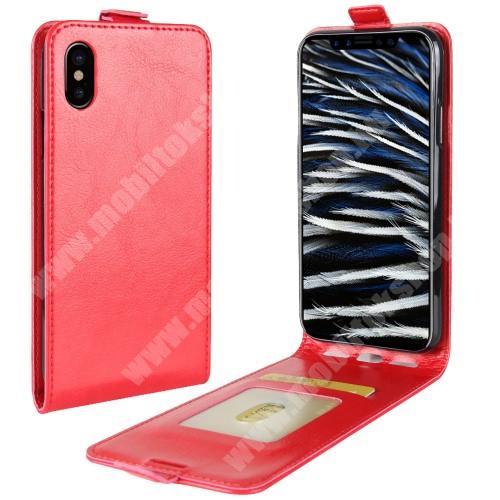 SLIM FLIP tok - PIROS - lefelé nyíló, rejtett mágneses záródás, bankkártya tartó zseb, szilikon belső - APPLE iPhone X