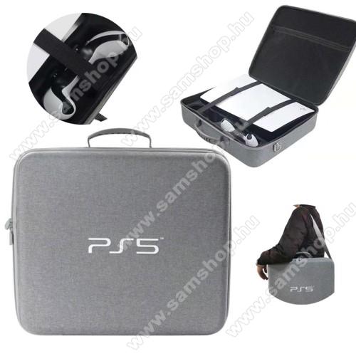 Sony PS5-höz tartó / hordozó táska - ütődésálló, cipzáros, EVA habszivacs, cseppálló, állítható vállpánt, 44 x 38 x 12cm - ERŐS VÉDELEM! - SZÜRKE