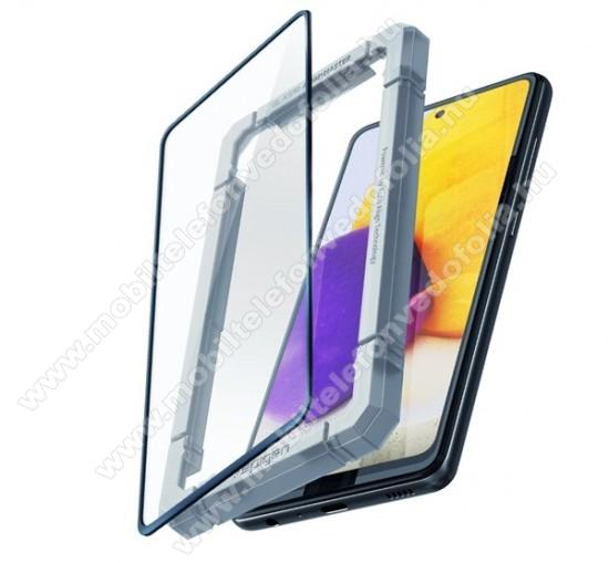 SPIGEN GLASS FC előlap védő karcálló edzett üveg - FEKETE - 1db, 0.33mm, 9H, + felhelyezést segítő keret - A TELJES KIJELZŐT VÉDI! - SAMSUNG Galaxy A52 5G (SM-A526F) / Galaxy A52 4G (SM-A525F) - AGL02821 - GYÁRI