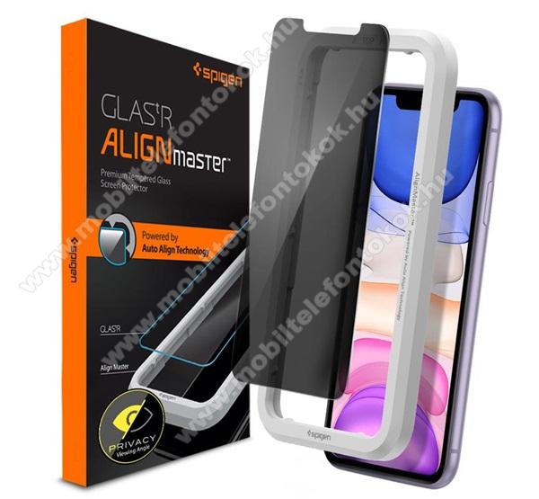 SPIGEN GLASTR ALIGNMASTER előlap védő karcálló edzett üveg - ÁTLÁTSZÓ - 1db, 0.2mm, 9H, betekintés elleni védelemmel + keret - A TELJES KIJELZŐT VÉDI! - APPLE iPhone 11 / iPhone Xr - AGL00103 - GYÁRI