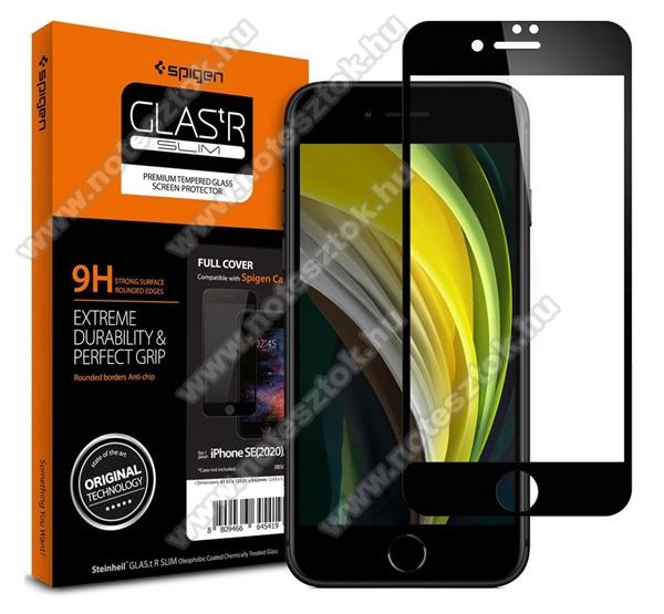 SPIGEN GLASTR SLIM HD előlap védő karcálló edzett üveg - FEKETE - 1db, 0.33mm, 9H, TOKBARÁT - A TELJES KIJELZŐT VÉDI! - APPLE iPhone SE (2020) / iPhone 7 / iPhone 8 / iPhone 6 / iPhone 6S - AGL01314 - GYÁRI