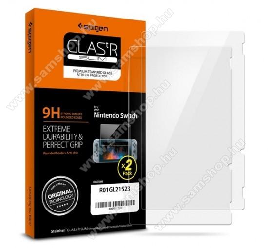 SPIGEN GLASTR SLIM HD előlap védő karcálló edzett üveg - ÁTLÁTSZÓ - 2db, 9H, A képernyő sík részét védi - Nintendo Switch - R01GL21523 - GYÁRI