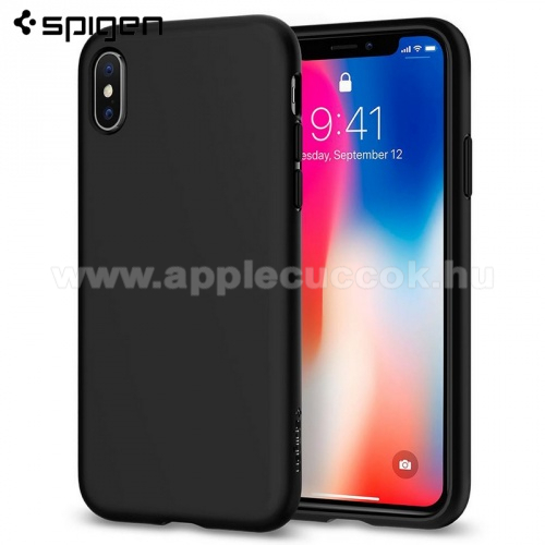 SPIGEN LIQUID CRYSTAL szilikon védő tok / hátlap - FEKETE - APPLE iPhone X / APPLE iPhone XS - 057CS22119 - GYÁRI