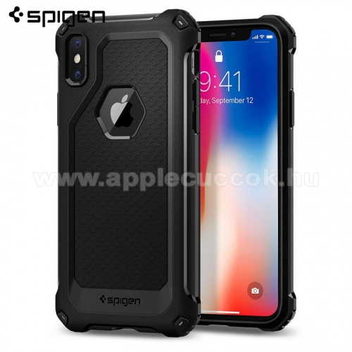 APPLE iPhone XS SPIGEN RUGGED ARMOR EXTRA szilikon v�d? tok / h�tlap - FEKETE - logo kiv�g�s, er?s�tett sarkok, ER?S V�DELEM! - APPLE iPhone X / APPLE iPhone XS - 057CS22154 - GY�RI