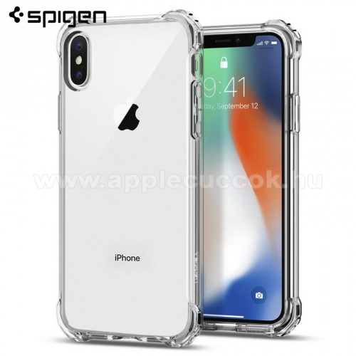 APPLE iPhone XS SPIGEN RUGGED CRYSTAL szilikon v�d? tok / h�tlap - �TL�TSZ� - er?s�tett sarkok - APPLE iPhone X / APPLE iPhone XS - 057CS22117 - GY�RI