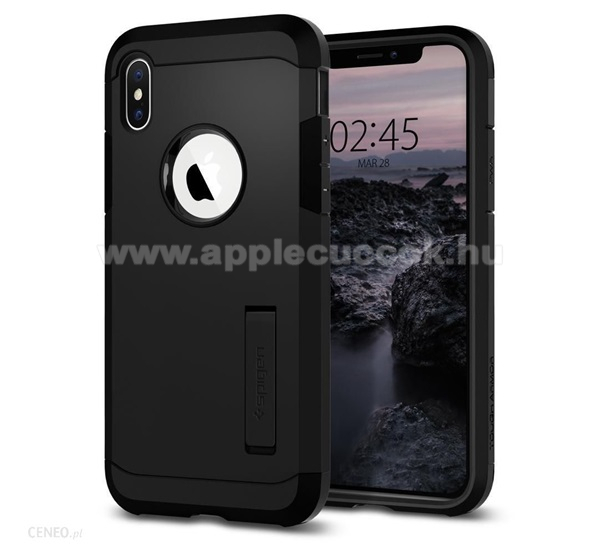 APPLE iPhone XS SPIGEN TOUGH ARMOR m?anyag v�d? tok / h�tlap - FEKETE - szilikon bet�tes, kit�maszthat� - ER?S V�DELEM! - APPLE iPhone X / APPLE iPhone XS - 063CS25118 - GY�RI