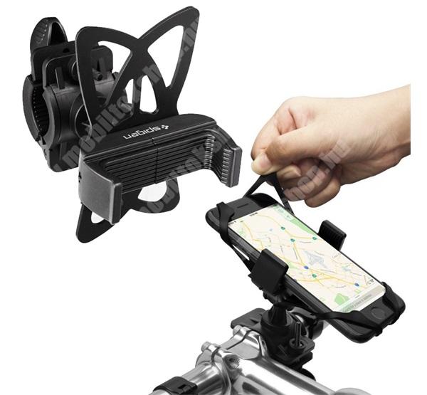 Elephone P3000 SPIGEN UNIVERZÁLIS biciklis / kerékpáros tartó konzol mobiltelefon készülékekhez - FEKETE - 360°-ban elforgatható, szilikon heveder, kormányra rögzíthető, 50-89mm-ig állítható bölcső - A250 - GYÁRI