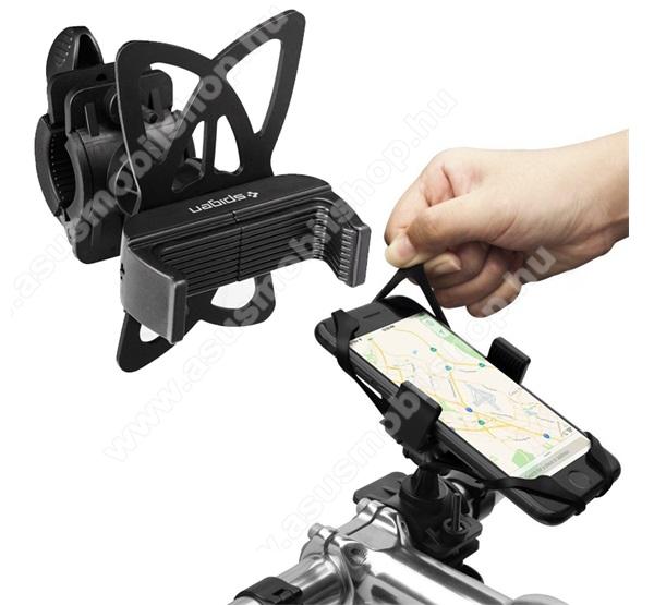 ASUS Zenfone 2 Laser (ZE500KL)SPIGEN UNIVERZÁLIS biciklis / kerékpáros tartó konzol mobiltelefon készülékekhez - FEKETE - 360°-ban elforgatható, szilikon heveder, kormányra rögzíthető, 50-89mm-ig állítható bölcső - A250 - GYÁRI