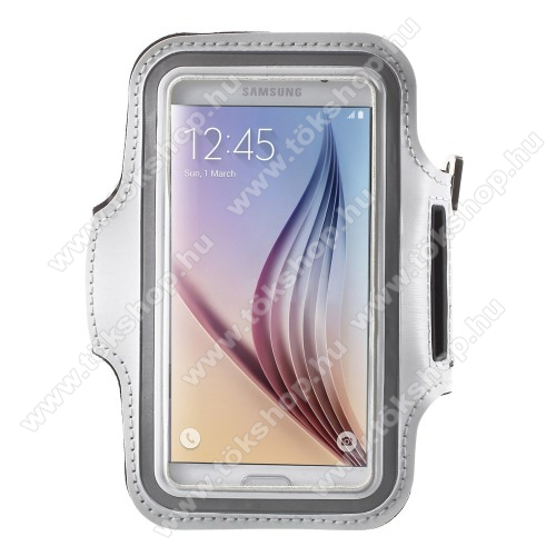 SPORT tok / karpánt - FEHÉR - SAMSUNG SM-G920 Galaxy S6 / SAMSUNG SM-G925F Galaxy S6 Edge - 145 x 75mm