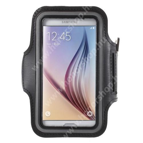 SPORT tok / karpánt - FEKETE - SAMSUNG SM-G920 Galaxy S6 / SAMSUNG SM-G925F Galaxy S6 Edge - 145 x 75mm