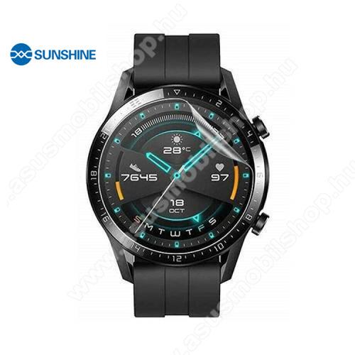 SUNSHINE Hydrogel TPU okosóra képernyővédő fólia - Ultra Clear, ÖNREGENERÁLÓ! - 1db, a teljes képernyőt védi - HUAWEI Watch GT 2 46mm / HONOR Magicwatch 2 46mm - GYÁRI