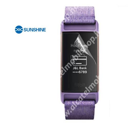 SUNSHINE Hydrogel TPU okosóra képernyővédő fólia - Ultra Clear, ÖNREGENERÁLÓ! - 1db, a teljes képernyőt védi - Fitbit Charge 3 / Fitbit Charge 3 SE / Fitbit Charge 4 - GYÁRI