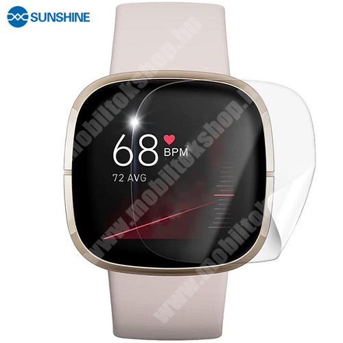 SUNSHINE Hydrogel TPU okosóra képernyővédő fólia - Ultra Clear, ÖNREGENERÁLÓ! - 1db, a teljes képernyőt védi - Fitbit Versa 3 / Fitbit Sense - GYÁRI