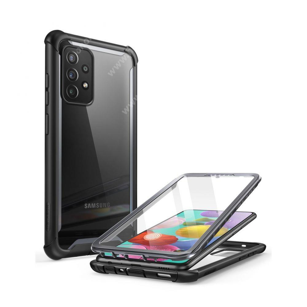 SUPCASE IBLSN műanyag védő tok / átlátszó hátlap - FEKETE - szilikon szegély, 360°-os védelem, két rétegű, kijelzővédő is, erősített sarkok, ERŐS VÉDELEM! - SAMSUNG Galaxy A72 5G (SM-A726F) / Galaxy A72 4G (SM-A725F) - GYÁRI