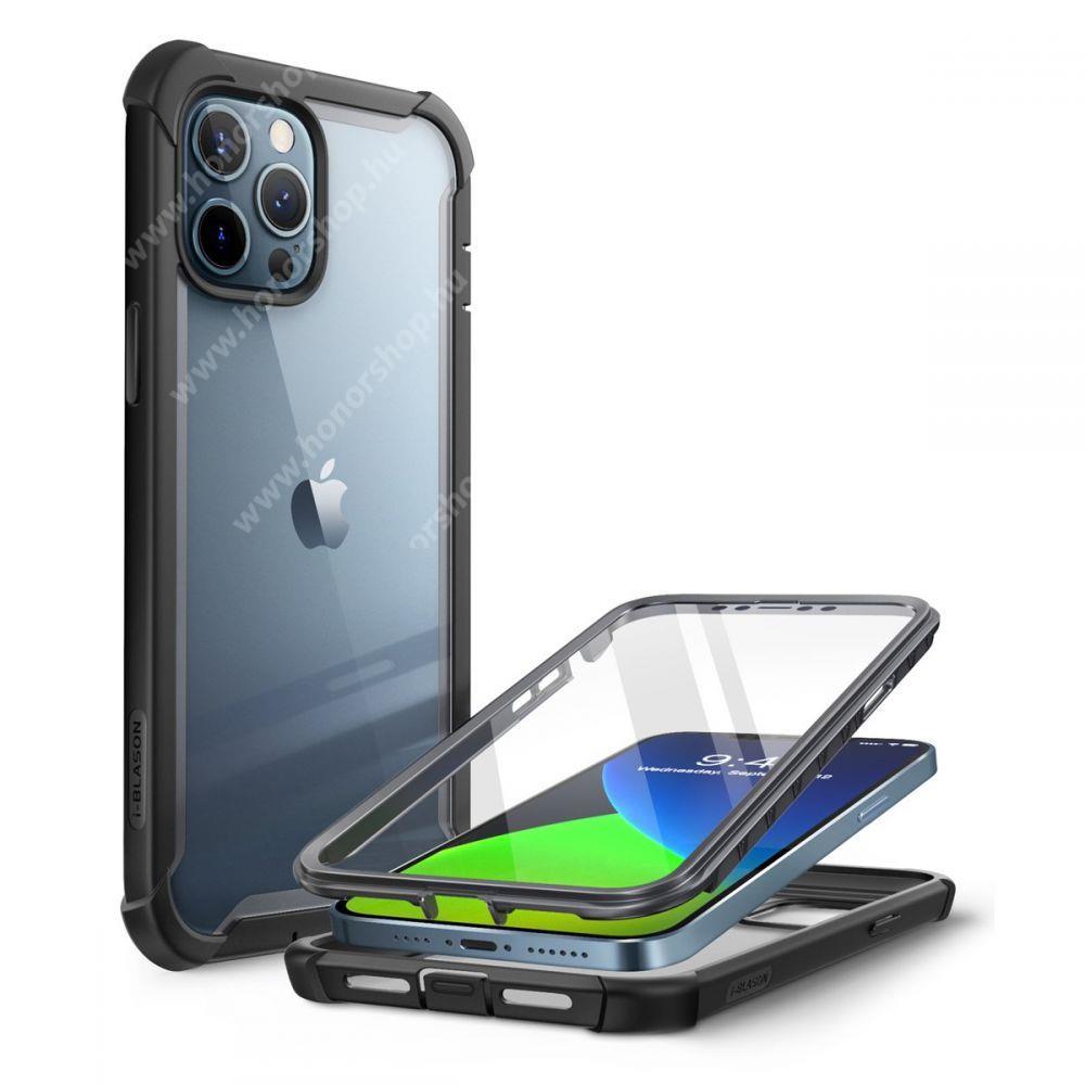 SUPCASE IBLSN műanyag védő tok / átlátszó hátlap - FEKETE - szilikon szegély, 360°-os védelem, két rétegű, kijelzővédő is, erősített sarkok, ERŐS VÉDELEM! - APPLE iPhone 12 Pro Max - GYÁRI