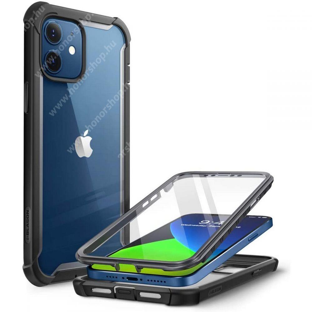 SUPCASE IBLSN műanyag védő tok / átlátszó hátlap - FEKETE - szilikon szegély, 360°-os védelem, két rétegű, kijelzővédő is, erősített sarkok, ERŐS VÉDELEM! - APPLE iPhone 12 mini - GYÁRI