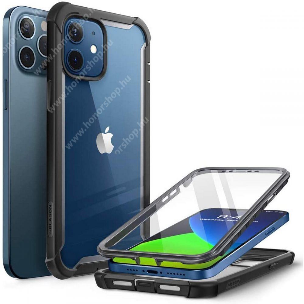 SUPCASE IBLSN műanyag védő tok / átlátszó hátlap - FEKETE - szilikon szegély, 360°-os védelem, két rétegű, kijelzővédő is, erősített sarkok, ERŐS VÉDELEM! - APPLE iPhone 12 / iPhone 12 Pro - GYÁRI