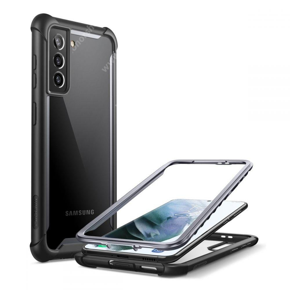 SUPCASE IBLSN műanyag védő tok / átlátszó hátlap - FEKETE - szilikon szegély, 360°-os védelem, két rétegű, kijelzővédő is, erősített sarkok, ERŐS VÉDELEM! - SAMSUNG Galaxy S21 Plus 5G (SM-G996B/DS) - GYÁRI