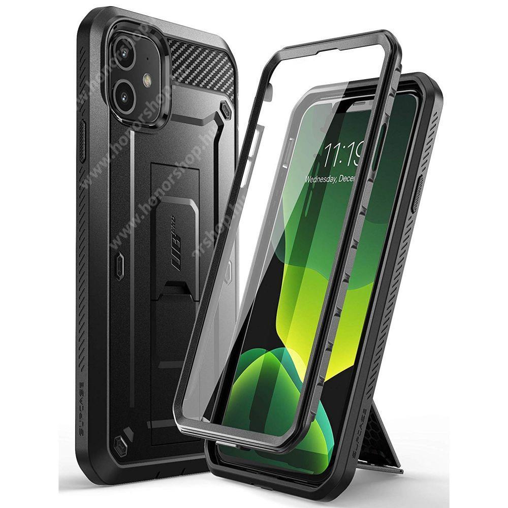 SUPCASE UNICORN BEETLE PRO műanyag védő tok / hátlap - FEKETE - szilikon betétes, kitámasztó, erősített sarkok, 360°-ban forgatható övre fűzhető csipesz, két rétegű, kijelzővédő is! - ERŐS VÉDELEM! - APPLE iPhone 11 - GYÁRI