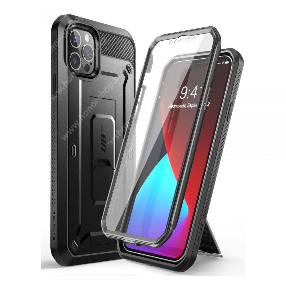 SUPCASE UNICORN BEETLE PRO műanyag védő tok / hátlap - FEKETE - szilikon betétes, kitámasztó, erősített sarkok, 360°-ban forgatható övre fűzhető csipesz, két rétegű, kijelzővédő is! - ERŐS VÉDELEM! - APPLE iPhone 12 / iPhone 12 Pro - GYÁRI