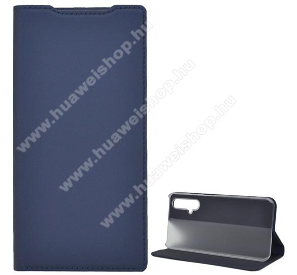 SUPER SLIM notesz tok / flip tok - SÖTÉTKÉK - asztali tartó funkciós, oldalra nyíló, műanyag belső - HUAWEI Honor 20 / HUAWEI Honor 20S / HUAWEI nova 5T