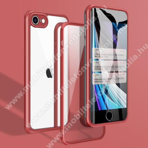 Szilikon védő keret / edzett üveg hátlap - 360°-os védelem, sziliko védő keret, előlap + hátlap védő edzett üveggel, erősített sarkok, ERŐS VÉDELEM - PIROS - APPLE iPhone SE (2020) / APPLE iPhone 7 / APPLE iPhone 8