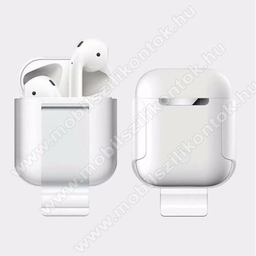 Szilikon védő tok Apple AirPods (2016) / AirPods 2 (2019) - beépített övcsipesz, töltőnyílás - FEHÉR