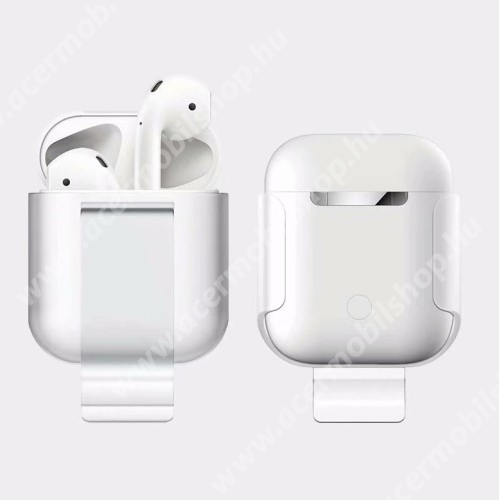 Szilikon védő tok Apple AirPods (2016) / AirPods (2019) - beépített övcsipesz, töltőnyílás - FEHÉR