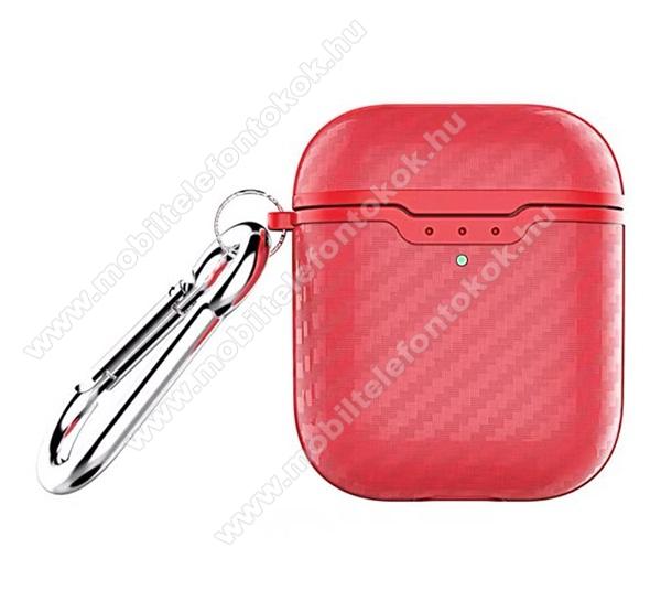 Szilikon védő tok Apple AirPods / AirPods 2-höz - karabiner, töltőnyílás - PIROS KARBON MINTÁS