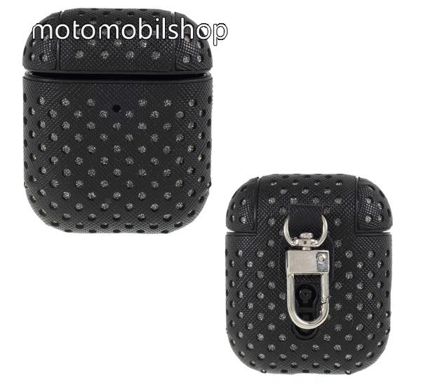 Szilikon védő tok Apple AirPods / AirPods 2-höz - lyukacsos, karabiner, töltőnyílás - FEKETE