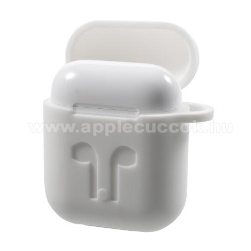 APPLE IPhone 5SSzilikon védő tok Apple AirPods-hoz - karabiner, töltőnyílás - FEHÉR