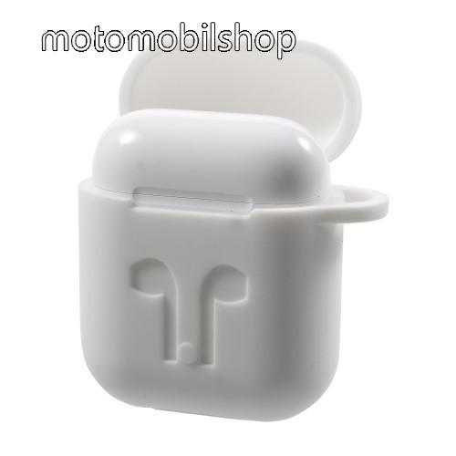 Szilikon védő tok Apple AirPods-hoz - karabiner, töltőnyílás - FEHÉR