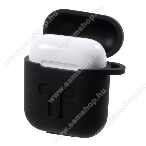 Szilikon védő tok Apple AirPods-hoz - karabiner, töltőnyílás - FEKETE
