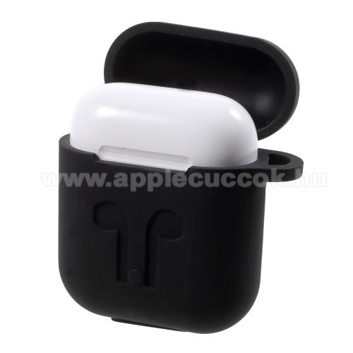 APPLE IPhone 5SSzilikon védő tok Apple AirPods-hoz - karabiner, töltőnyílás - FEKETE