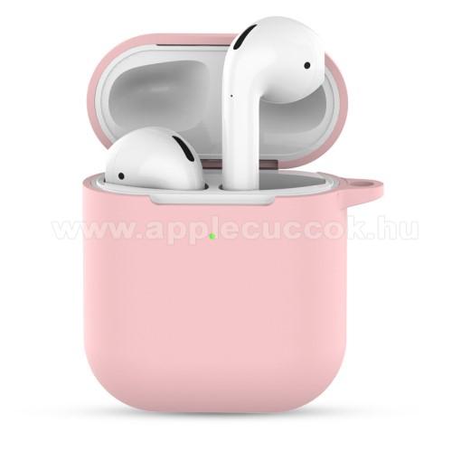 Szilikon védő tok Apple AirPods-hoz - töltőnyílás, porvédő - RÓZSASZÍN