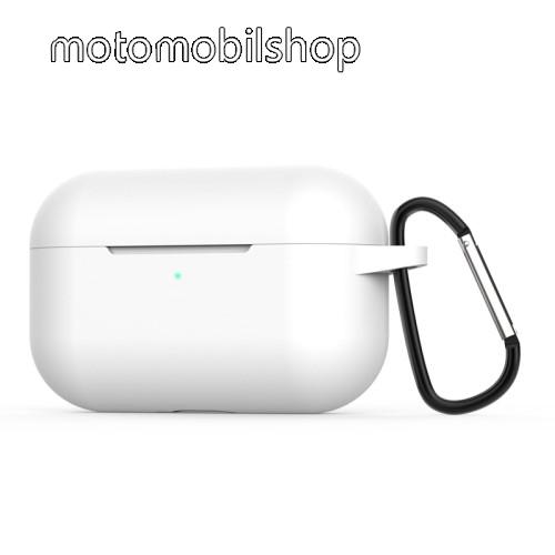 Szilikon védő tok Apple AirPods Pro / AirPods 3-hoz - karabiner - FEHÉR