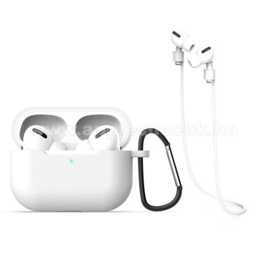 Apple AirPods Pro MWP22ZM/ASzilikon védő tok Apple AirPods Pro-hoz - karabiner, töltőnyílás, fülhallgató tartó pánttal - FEHÉR