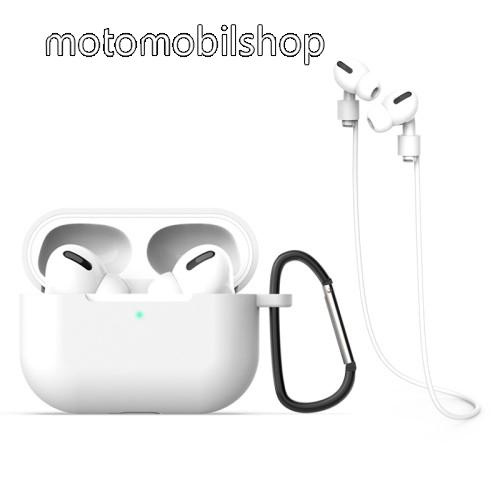 Szilikon védő tok Apple AirPods Pro-hoz - karabiner, töltőnyílás, fülhallgató tartó pánttal - FEHÉR