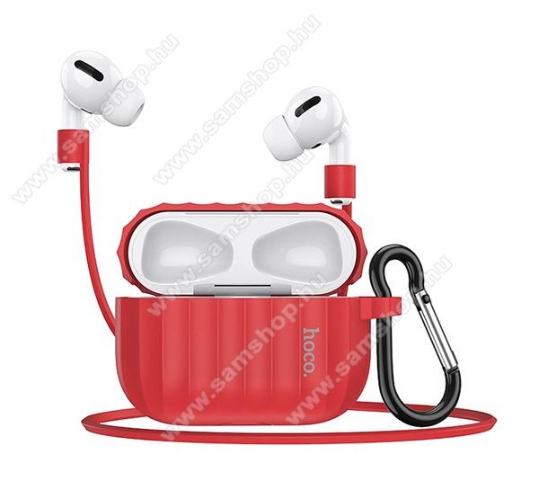 Szilikon védő tok Apple AirPods Pro-hoz - karabiner, töltőnyílás, fülhallgató tartó nyakpánttal - PIROS - WB20_R - GYÁRI